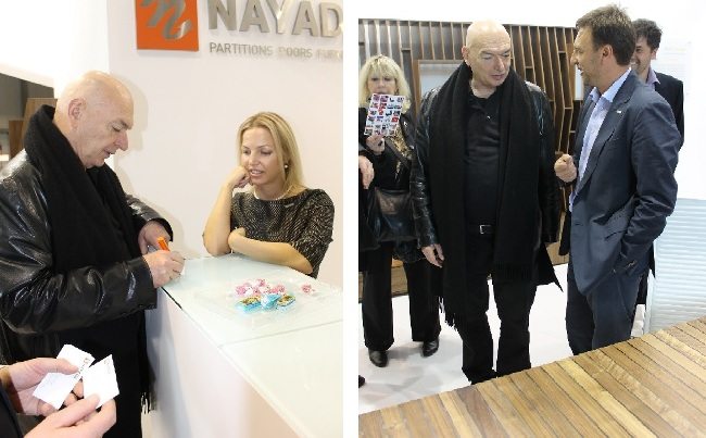 Photo Jean Nouvel, a well-known architect, visited the exhibition stand of NAYADA at I Saloni 2013