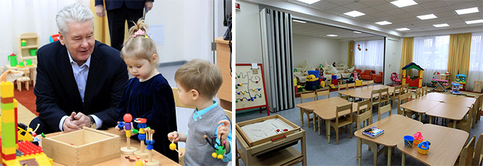 Photo NAYADA-Hufcor transformable partitions in Moscow daycares