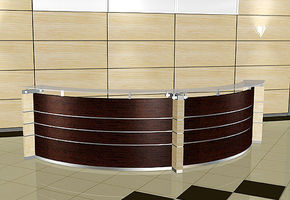 NAYADA-Tempo wall panels combined with NAYADA-Regina counters present an ideal solution for entrance lobbies in the office!