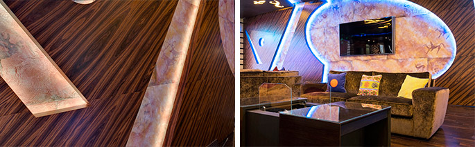 Photo Custom integrated solutions: NAYADA products in a private music club