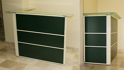 Reception counters based on NAYADA-Optima+ mobile partitions