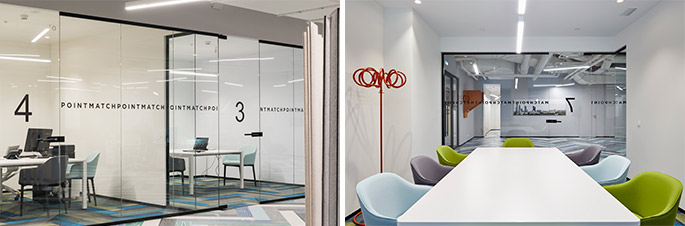Photo NAYADA partitions and doors in the sales office of the Match Point Residential Complex