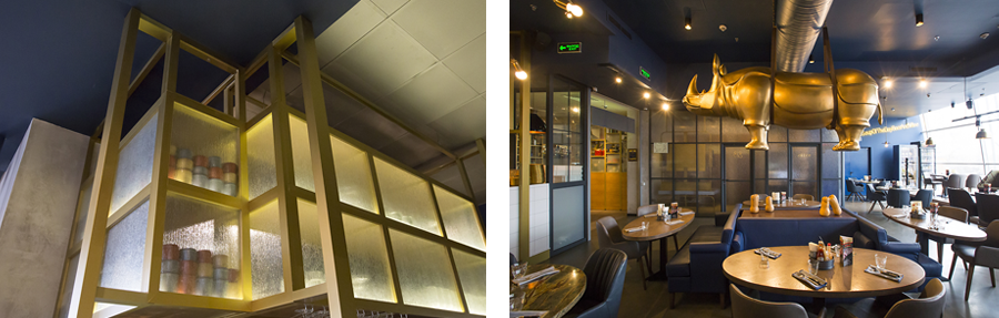 Photo Complex dining space with bright nuances: NAYADA for Burger & Pizzetta