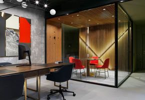 51 sq. m office & apartments: laconism and geometric highlights