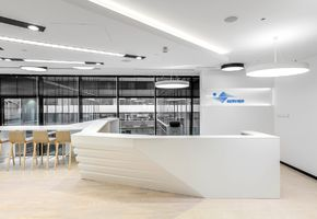 Reception counters in project The Servier office interior