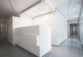 Reception counters in project The dental center interior